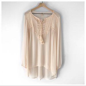 Sundance Sheer Beaded & Embroidered Blouse/Tunic